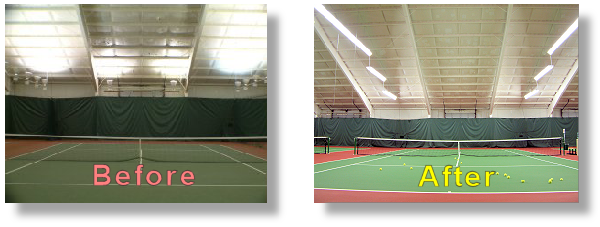Indirect tennis lights compared to Direct tennis court lighting