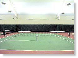 Tiered indirect tennis court lighting using t5 fluorescent.