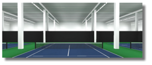 Linier direct tennis lights using T5 fluorescent