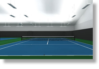 Indirect T5 fluorescent indoor Tennis lighting systems